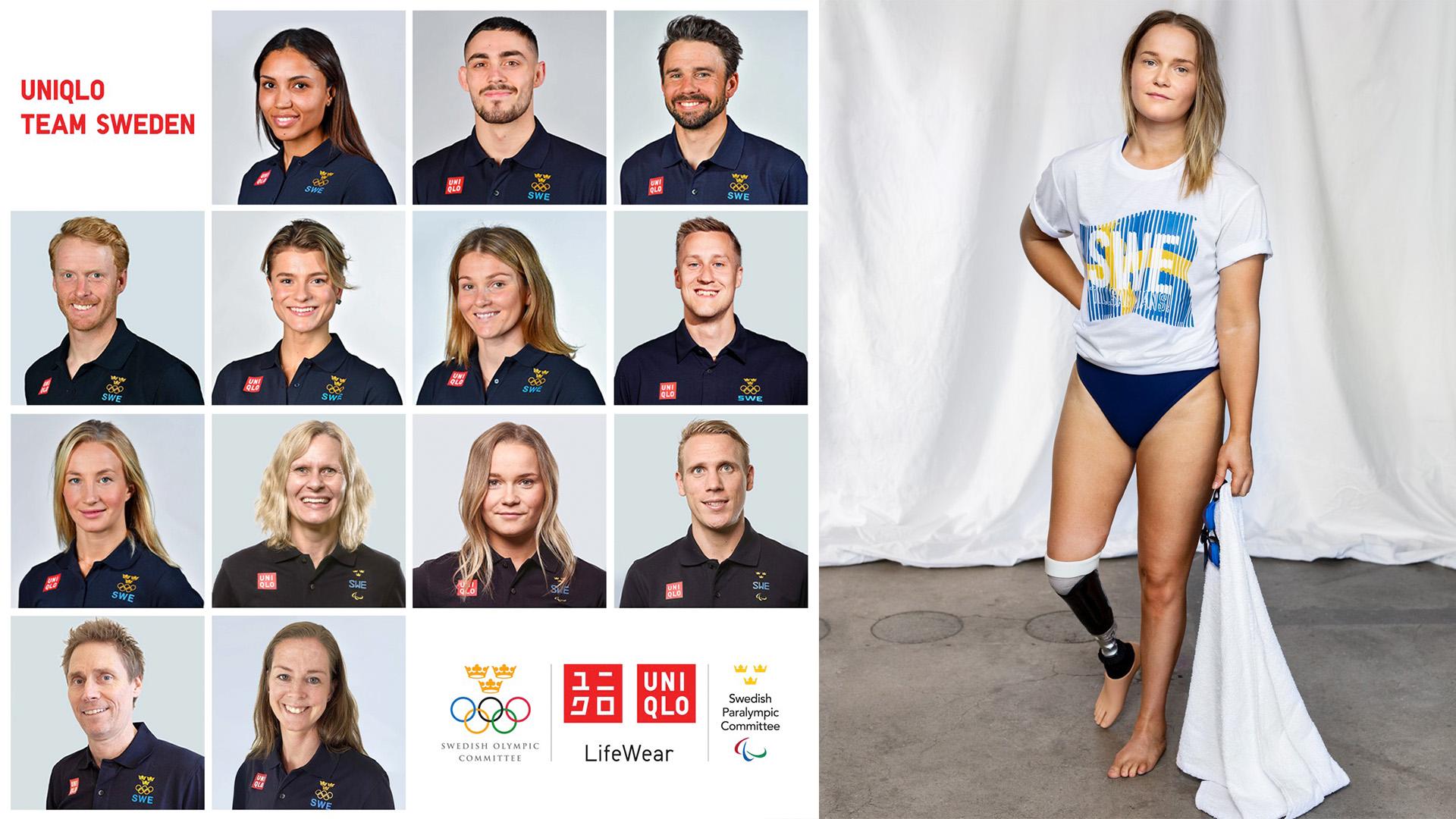 På bilden visas 13 olympier, paralympier och legendarer som alla representerar Uniqlo Team Sweden.