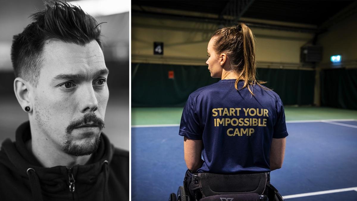 Svartvit bild på Stefan Jansson till vänster. Till höger syns en tjej i rullstol bakifrån. Hon har på sig en blå tröja med guldig text som säger Start Your Impossible Camp.