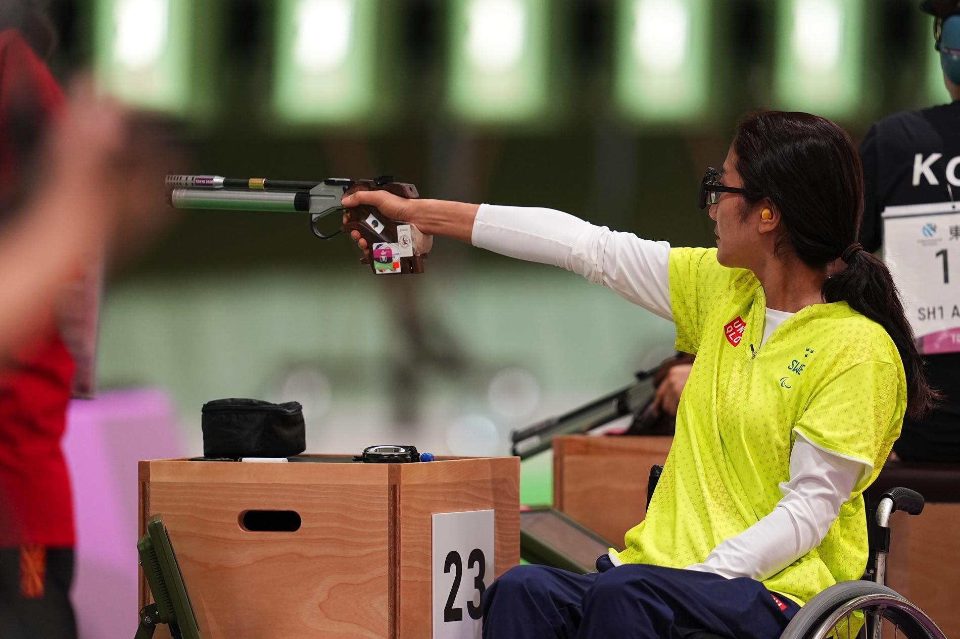 Sportskytten Yu-Jeong Bang deltog i 10 meter luftpistol på Paralympics i Tokyo.